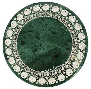 Green Marble Patio Table Top Inlay with MOP Work Coffee Table Home Decor 30 Inch