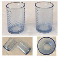 VINTAGE Libbey Crisa Drinking Glass Tumblers Blue Twist Swirl 8 oz. Set of 2