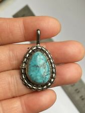Tested Sterling Silver Navajo Style Big Turquoise Pendant