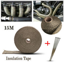 15M Motorcycle Exhaust Heat Wrap 900° Insulation Pipe Glass Fiber Thermal Strip