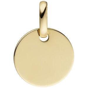 Goldanhänger, Gravurplatte, Gravur Anhänger Gold rund 10 mm 333 Gelbgold, 0,4 gr