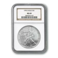1993 SILVER EAGLE 1-OZ DOLLAR NGC MAC MS-69 PQ 2ND FINEST REGISTRY SPOTLESS *