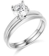 1.30 Ct Round Cut Engagement Wedding Ring Set Real 14K White Gold Matching Band