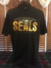 Men's VGUC ACADEMY XL Extra Large Black United States Navy Seals T-Shirt