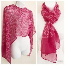 "Vtg Designer RENATO BALESTRA 100% Silk Pink Chain Sheer Scarf 60x15.5"" Rectangle"