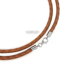 """22"""" Sterling Silver 3.6mm Tan Braided Round Genuine Leather Cord Necklace Clasp"""