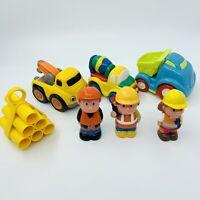 ELC Happyland Chad Valley Construction Builders Set Bundle 3 Trucks Figures Pipe