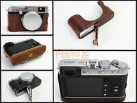 PU leather half case bag grip cover for Fujifilm FUJI X100F camera battery-open