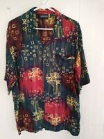 Anxious Tribal Fish Men's Shirt Vtg Rayon Short Sleeve Button Front Size Large