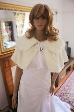 UK IVORY Wedding Prom Faux Fur Wrap Jacket Stole Shawl / Bolero Size 8-12 M 185