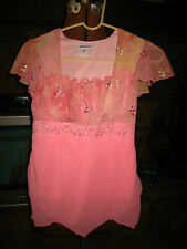 GIRLS PINK CHIFFON OVERLAY TOP~BY LIMITED TOO~SIZE LARGE~TIES IN BACK~SO CUTE~