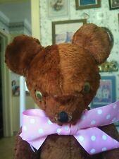 Antique Vintage artsilk American 1940s Gund Teddy bear googly eyes 16in Guc