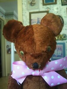 Antique Vintage artsilk American 1940s Gund Teddy bear googly eyes 16in GUC
