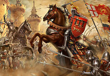 Large Framed Print - Medieval Knights and Horses Fighting on the Battlefield