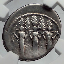 Roman Republic 43BC Larentia Hero Woman of Rome & Nymphs Silver Coin NGC i60173