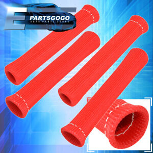 For Hyundai 4X Heat Spark Plug Wire Tube Insulator Thermal Wrap Autox Set Red