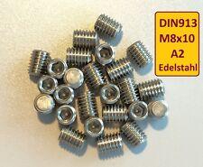 DIN913  M8x10 A2 Edelstahl Stiftschraube Madenschraube 100 Stück