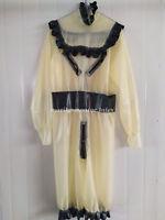 Latex Rubber Women Long Drees Culottes Transparent  Fashion Skirt Size S-XXL