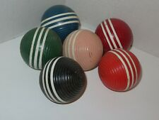 Set of 6 Three-Stripe Textured Colored Croquet Balls