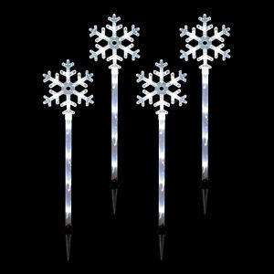 Set of 4 Bright White 70CM Snowflake Stake Path Christmas Xmas 40 LED Lights