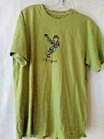 Life is good Men's S Pea Green Short Sleeve T-Shirt  Jake Playing Hockey Cotton
