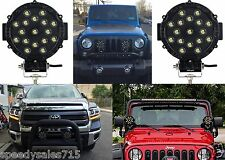 """(2) 51W 7"""" Round Black LED Lights Spot Flood Bar Offroad Jeep New Free Shipping"""