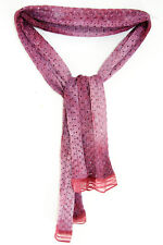 AMAZING TWO-TONE PURPLE KNITTED-LOOK SCARF RED ORGANZA-LIKE FINISH (MS20)
