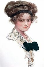 Harrison Fisher Girl 1910 VICTORIAN WOMAN in LACE BLOUSE BLACK BOW Fashion Print