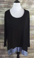 Joseph A Top Womens Plus Size 2X Shirt Blouse Colorblock Black Blue NEW