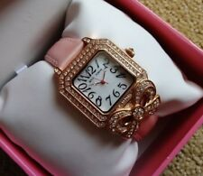 Betsey Johnson Gold Crystal Bow Pink Leather Strap Watch Mother of Pearl $115