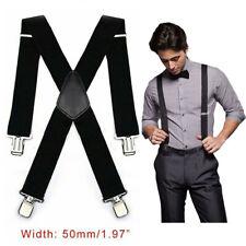 Hosenträger starke 50mm Damen Herren Extra Breit Hosen X-Form mit 4 Clips DHL