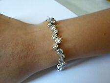 bracelet en argent massif, cabochons de zirconiums, 18,5 cm