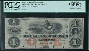 Central Bank Of Wisconsin Janesville, WI Obsolete $1 Banknote PCGS A. New 50PPQ