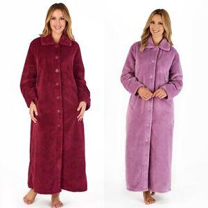 Slenderella Womens Button Up Long Dressing Gown Super Soft & Thick Waffle Fleece