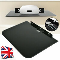 1 Tier Black DVD Shelf Wall Mount Glass Floating Player Sky Box PS4 Game Console
