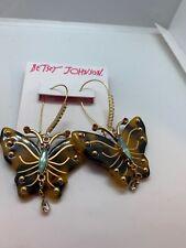 Betsey Johnson Butterfly Tortoise LOOK Drop Earrings F200 YY