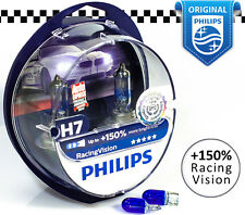 PHILIPS H7 Racing Vision +150% Car Halogen Headlight Bulbs 12V, 55W + Blue W5W