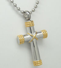 GOLD & SILVER CROSS URN NECKLACE CROSS CREMATION JEWELRY MEMORIAL URN PENDANT