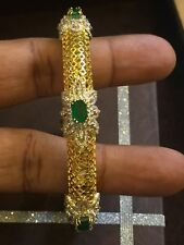 Pave 7.40 Cts Natural Diamonds Emerald Bangle Bracelet In Fine Hallmark 14K Gold