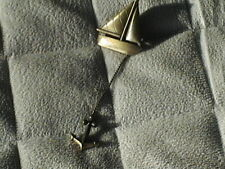 Attached Dangling Anchor. Sailing. Ocean Bronze Sailboat Ship Metal Pin with
