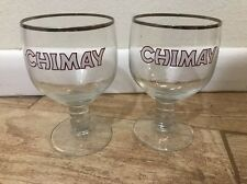 Set of 2 CHIMAY Belgian Beer Chalice Silver Rimmed Glasses EUC