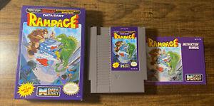 Rampage (Nintendo Entertainment System, 1988) Game, Manual, Box