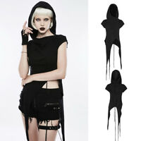 Punk Rave OPT-153 Punk Goth Asymmetric Tail Hood Black Top Jumper Hoodie Rope