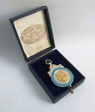 Vtg 1938 Fattorini Solid Silver Enamel Liverpool Musical Festival Medal Fob Case