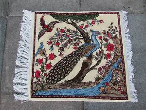 Fine Vintage Traditional Hand Made Oriental Wool White Small Rug 72x70cm Bird