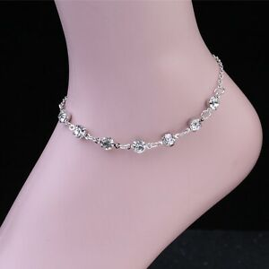 Silver Ankle Bracelet With Cubic Zirconia Women's Anklet Adjustable Foot Chain