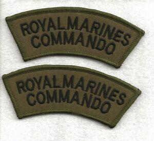 2 New Royal Marines Commando Khaki and Black Shoulders Flashes / Titles