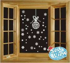 65 Snowflake/ Star & Merry Christmas Bauble Window Sticker Reusable Static Cling