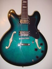 New Semi Hollow Body Electric Guitar Memphis Jazz 6 String Blue