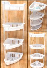 4 Tier Plastic Shower Caddy Corner Shelf Bathroom Organiser Storage Rack White